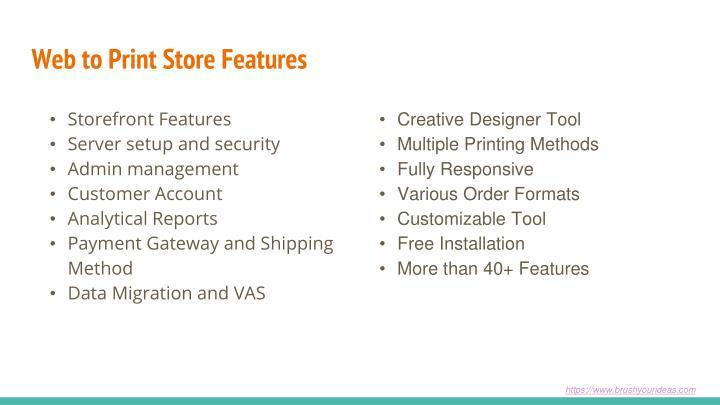 Web to Print Store Features