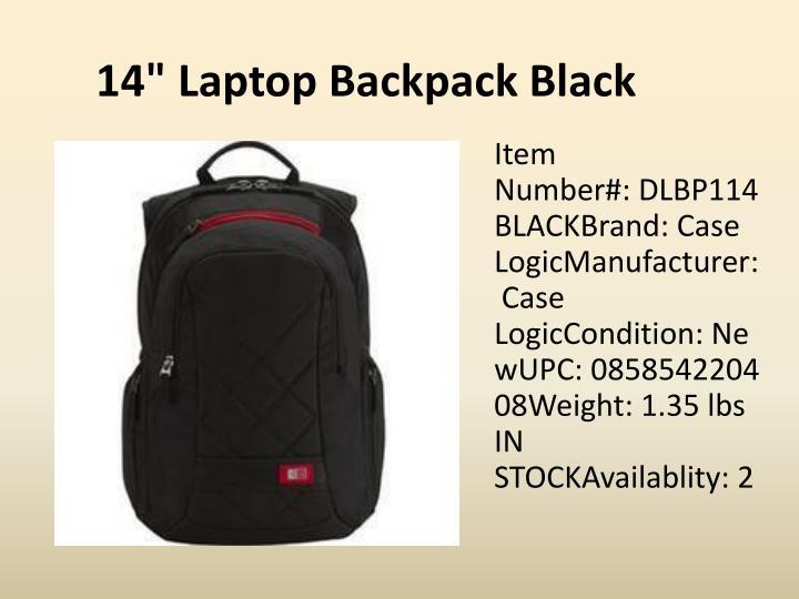 """14"""" Laptop Backpack Black"""