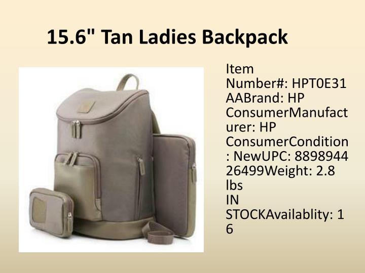 """15.6"""" Tan Ladies Backpack"""