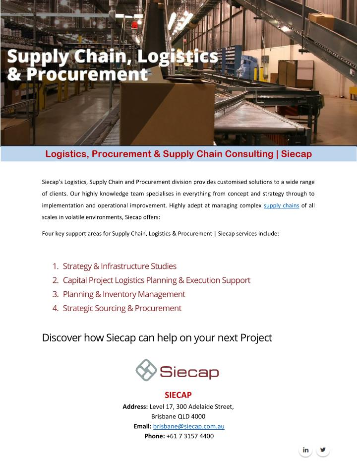 Logistics, Procurement & Supply Chain Consulting | Siecap