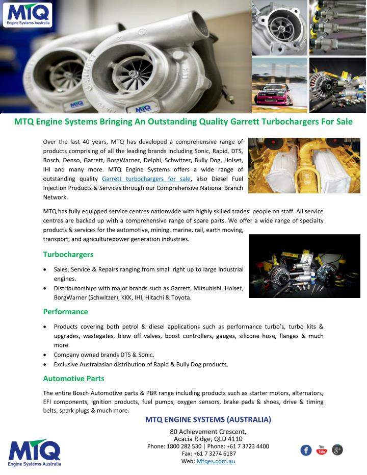 MTQ Engine Systems Bringing An Outstanding Quality Garrett Turbochargers For Sale