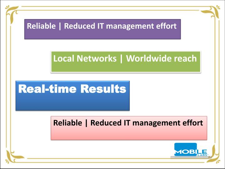 Reliable | Reduced IT management effort