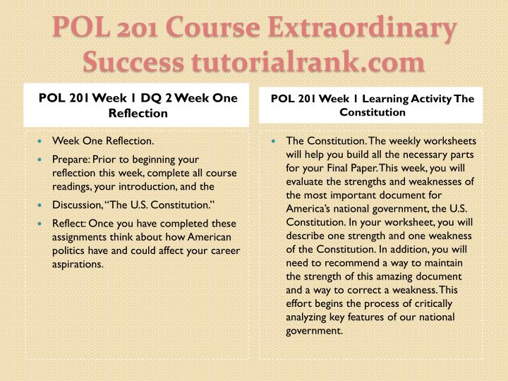 POL 201 Week 1 DQ 2 Week One Reflection