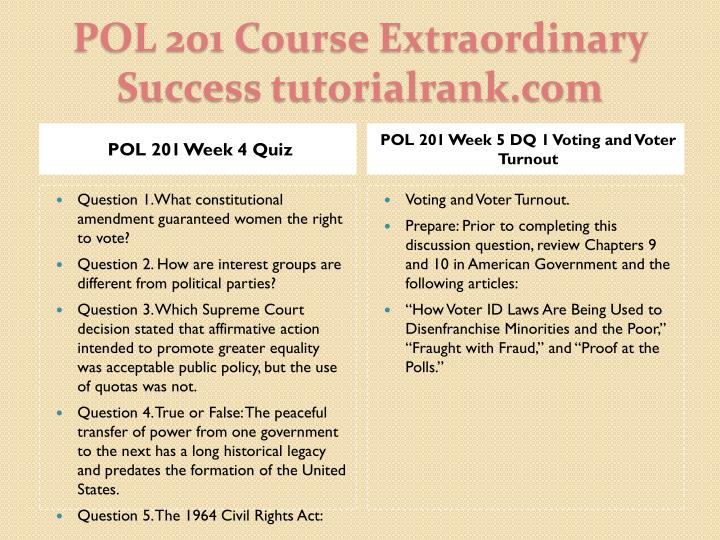 POL 201 Week 4 Quiz