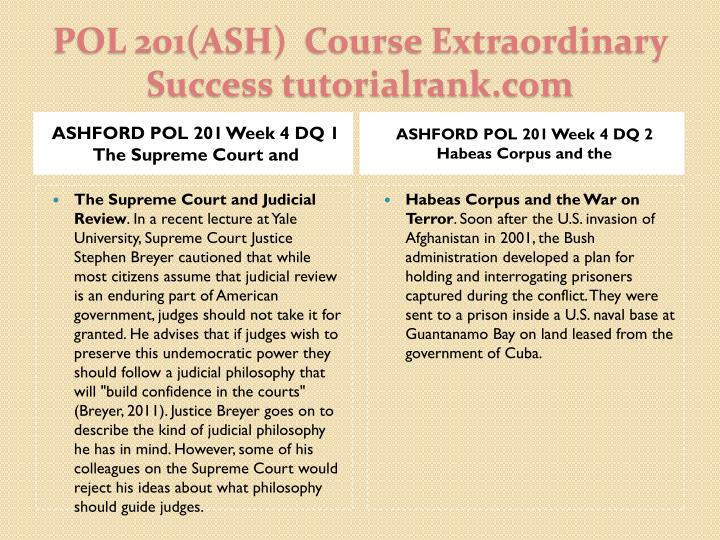 ASHFORD POL 201 Week 4 DQ 1 The Supreme Court and
