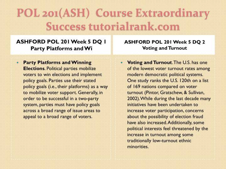 ASHFORD POL 201 Week 5 DQ 1 Party Platforms and Wi