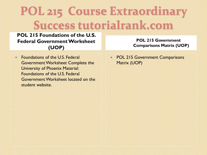 POL 215 Foundations of the U.S. Federal Government Worksheet (UOP)