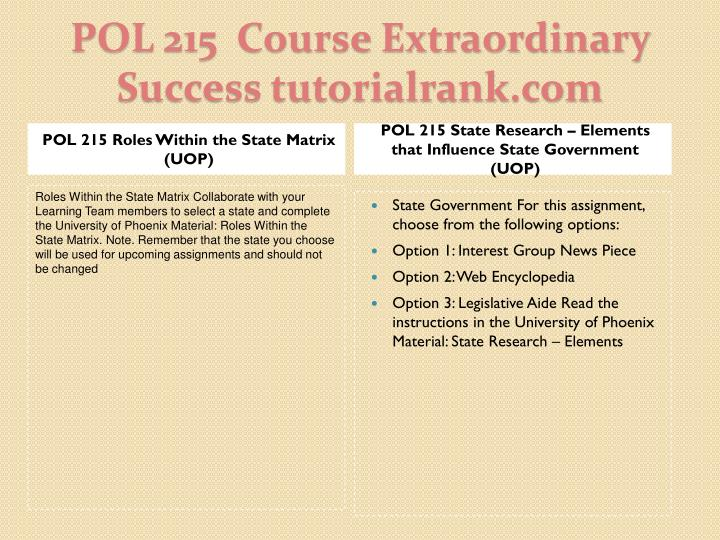 POL 215 State Research – Elements that Influence State Government (UOP)