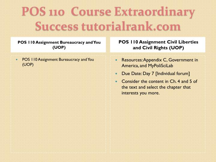 POS 110 Assignment Bureaucracy and You (UOP)