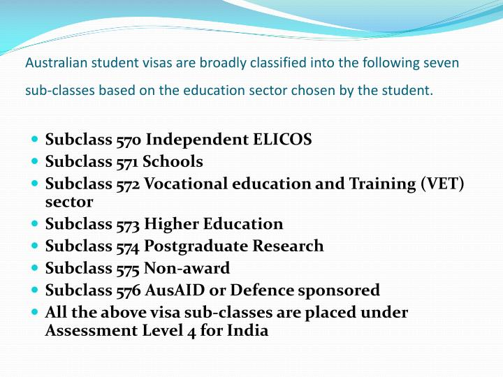 Australian student visas are broadly classified into the following seven sub-classes based on the education sector chosen by the student.