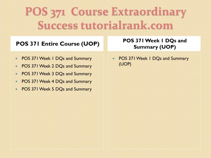 Pos 371 course extraordinary success tutorialrank com1