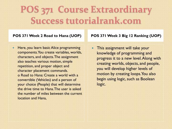POS 371 Week 2 Road to Hana (UOP)
