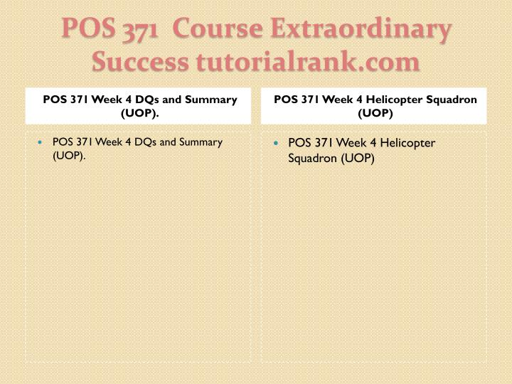 POS 371 Week 4 DQs and Summary (UOP).