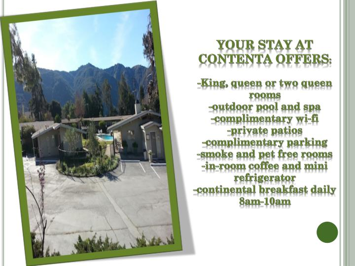 Your Stay at Contenta Offers
