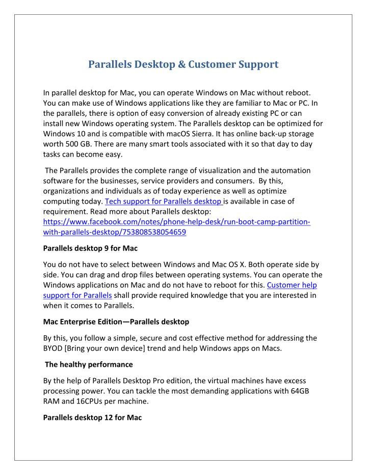Parallels Desktop & Customer Support