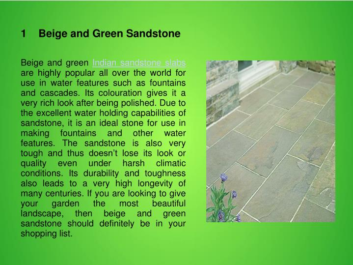 1    Beige and Green Sandstone