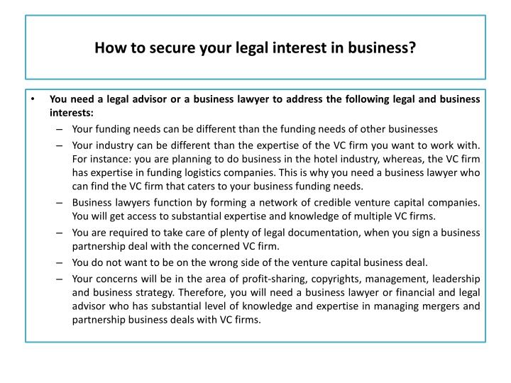 How to secure your legal interest in business?