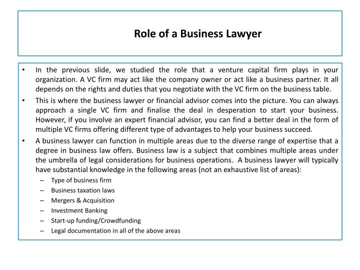Role of a Business Lawyer