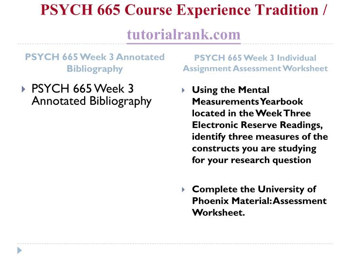 Psych 665 course experience tradition tutorialrank com2