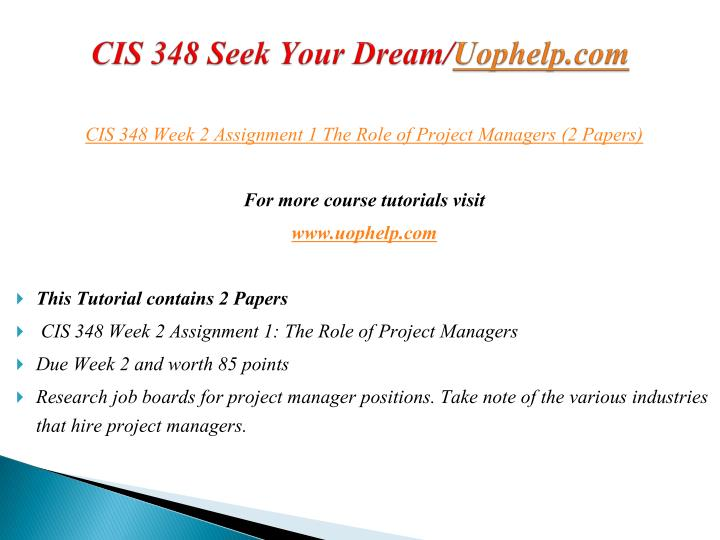 CIS 348 Seek Your Dream/