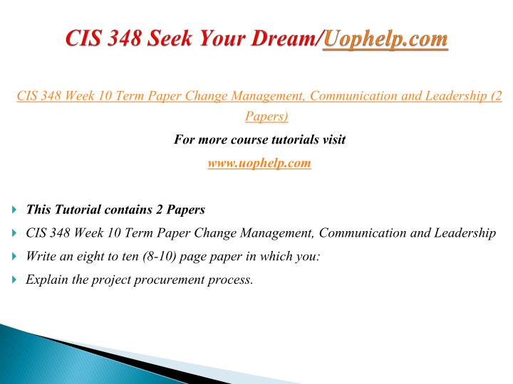 CIS 348 Seek Your Dream/