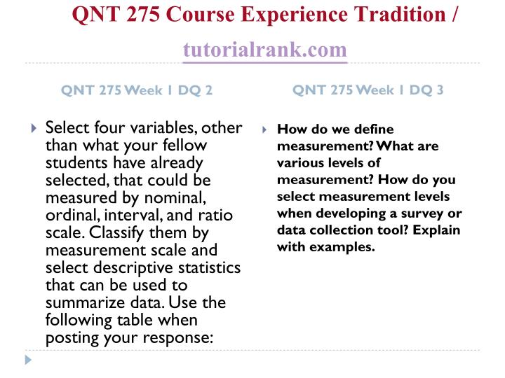Qnt 275 course experience tradition tutorialrank com2
