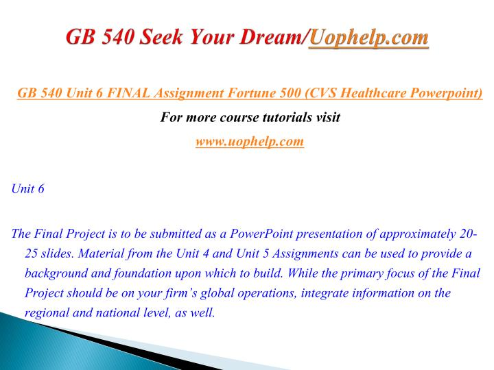GB 540 Seek Your Dream/