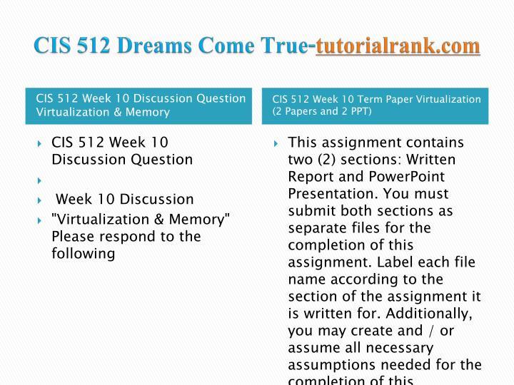 CIS 512 Dreams Come True