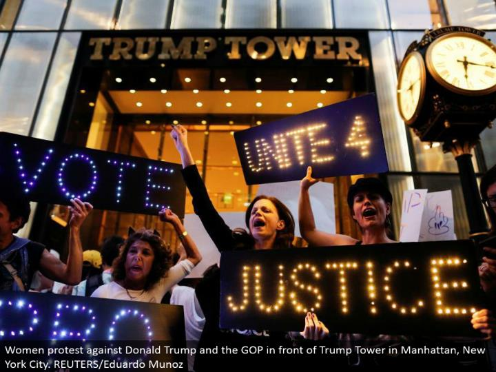 Women challenge Donald Trump and the GOP before Trump Tower in Manhattan, New York City. REUTERS/Edu...