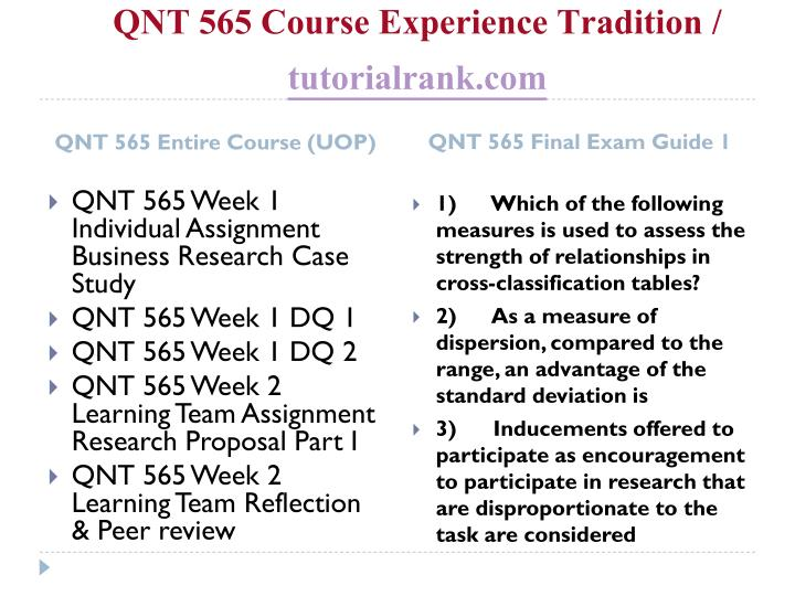 Qnt 565 course experience tradition tutorialrank com1