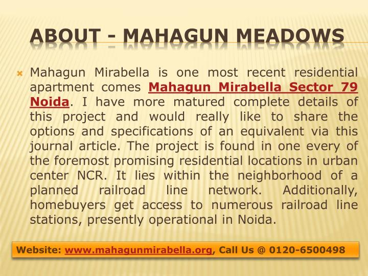 Mahagun Mirabella is one most recent residential apartment comes