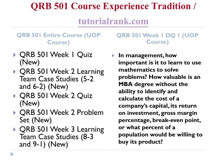 Qrb 501 course experience tradition tutorialrank com1