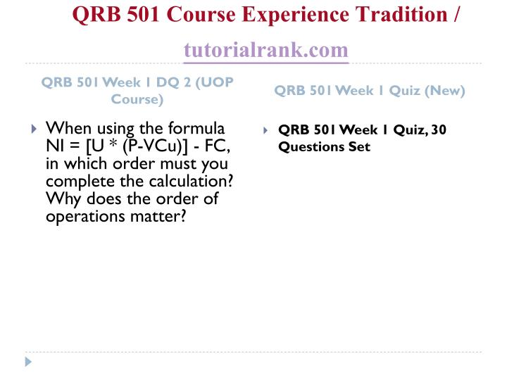 Qrb 501 course experience tradition tutorialrank com2
