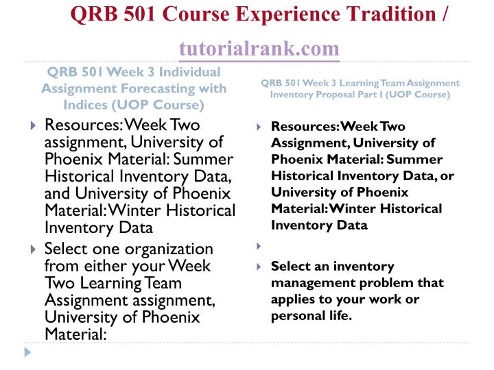 QRB 501 Course Experience Tradition /