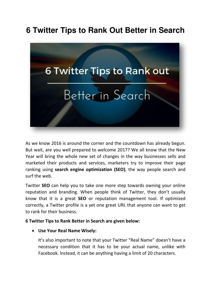 6 Twitter Tips to Rank Out Better in Search