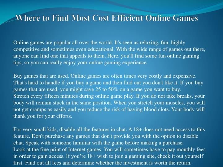 Where to find most cost efficient online games