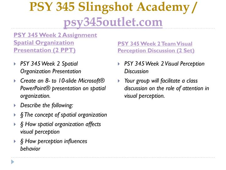 PSY 345 Slingshot Academy /