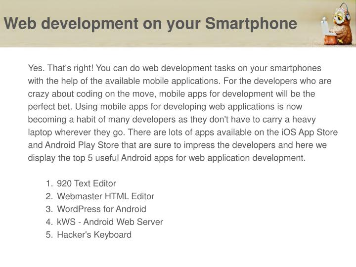 Web development on your smartphone