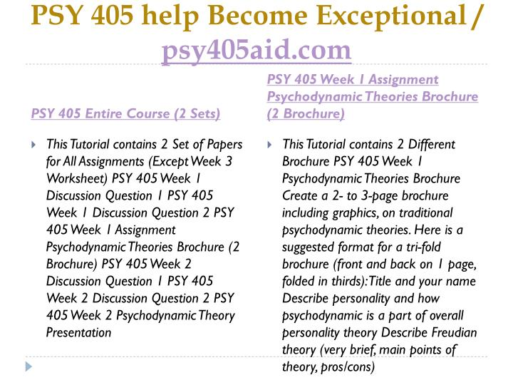 PSY 405 help Become Exceptional