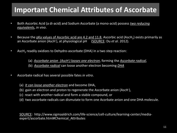Important Chemical Attributes of Ascorbate