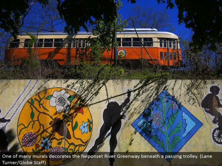 One of numerous paintings designs the Neponset River Greenway underneath a passing trolley. (Path Turner/Globe Staff)