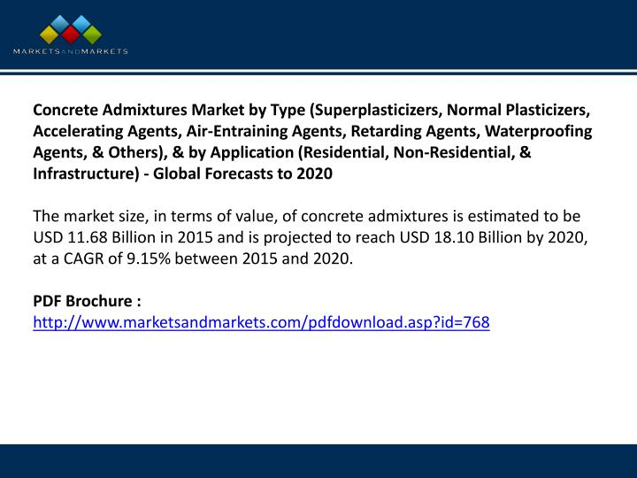 Concrete Admixtures Market by Type (Superplasticizers, Normal Plasticizers, Accelerating Agents, Air-Entraining Agents, Retarding Agents, Waterproofing Agents, & Others), & by Application (Residential, Non-Residential, & Infrastructure) - Global Forecasts to 2020