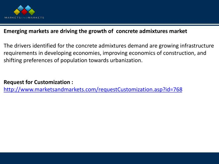 Emerging markets are driving the growth of concrete admixtures