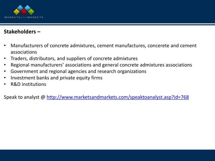 Stakeholders –