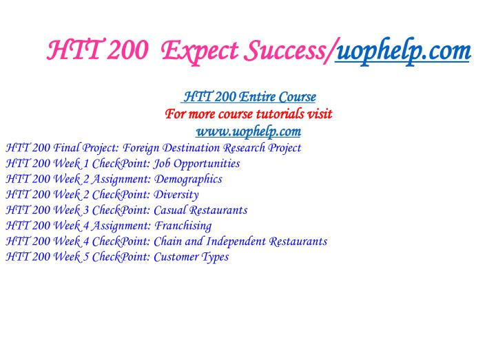 Htt 200 expect success uophelp com1