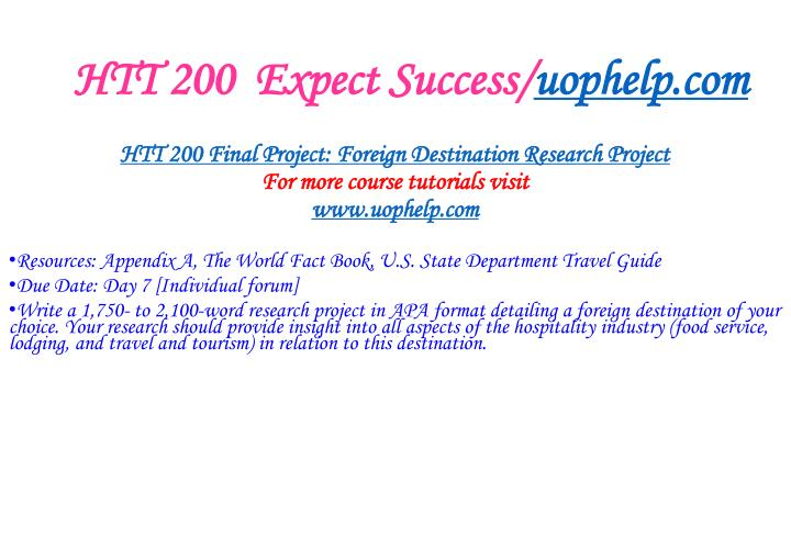 Htt 200 expect success uophelp com2