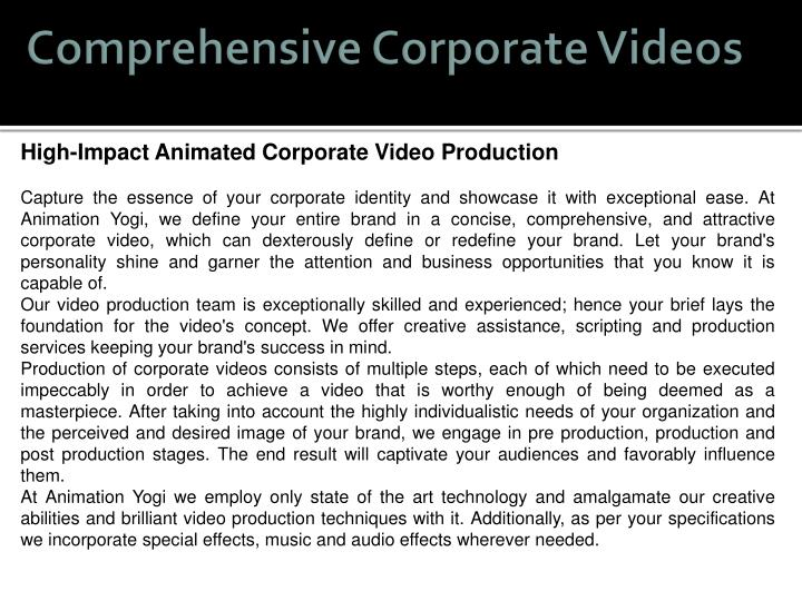 Comprehensive Corporate Videos