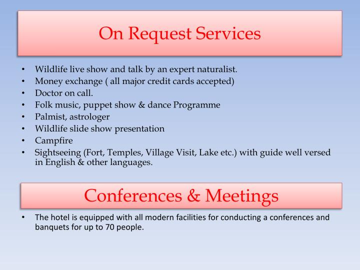 On Request Services
