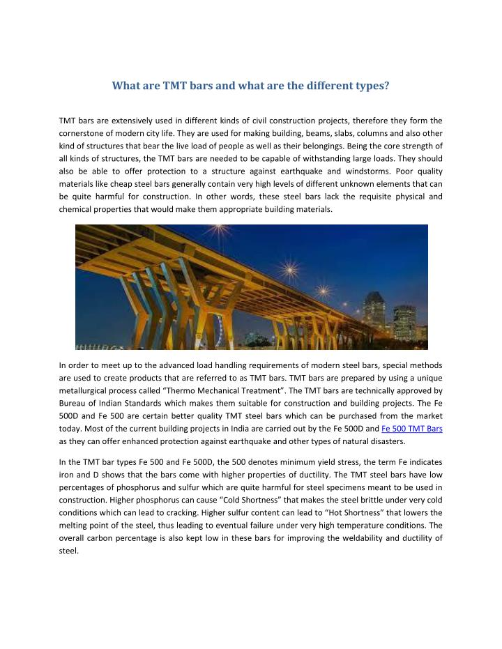 What are TMT bars and what are the different types?