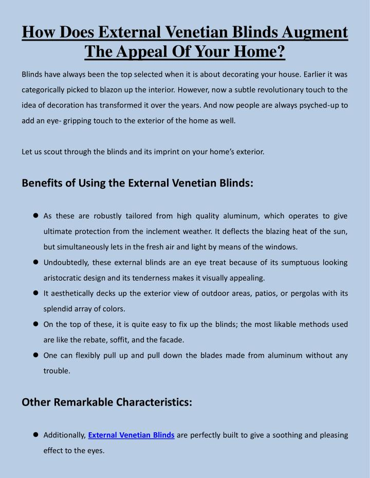 How Does External Venetian Blinds Augment